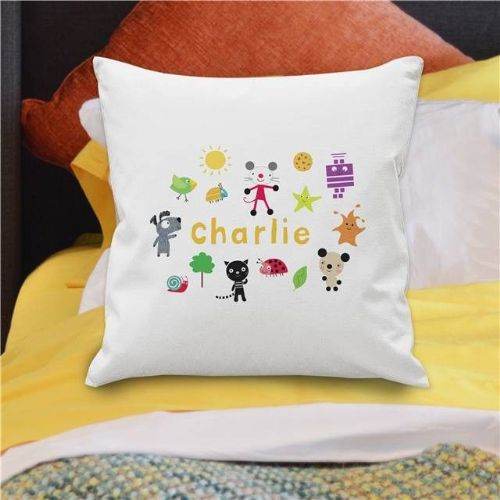 Personalised Arty Mouse Scatter Character Cushion Cover